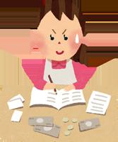 貯金・家計簿を付ける主婦