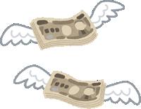 飛んで行く日本円で100万円の札束