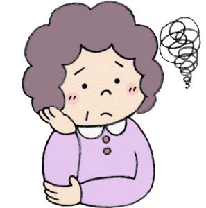 悩むおばさん イラスト
